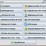 tela menu produção